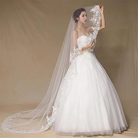 HY-FHLJ Schleier 3m Europa und die Vereinigten Staaten und Weiß High-Grade Exquisite Wasser lösliche Wimpern Spitze Lange Garn, um die Garn Braut Hochzeit Schleier zu ziehen