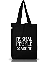 Shirtstreet24, AHS - Normal People Scare Me, Jutebeutel Stoff Tasche Earth Positive (ONE SIZE)