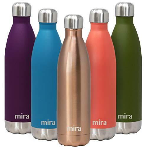 MIRA vakuumisolierte Wasserflasche aus Edelstahl | Schlanke auslaufsichere doppelwandige Flasche | Hält Getränke 24 Stunden lang kalt & 12 Stunden warm | 750 ml Roségold