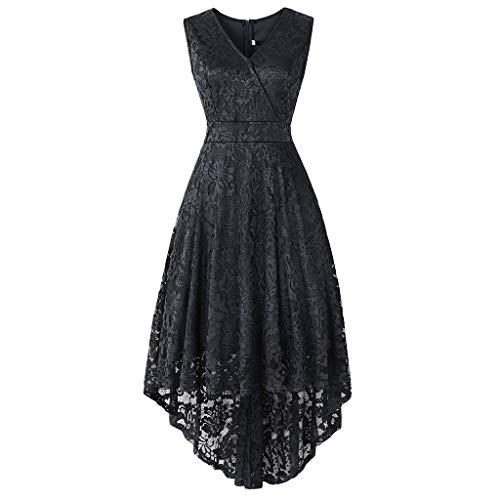 MAYOGO Vintage Elegant Kleid aus Spitze Damen Unregelmässig Vokuhila Kleid Vorne Kurz Hinten Lang,Kleid zur Hochzeit Gast/Brautjungfer,Langarm   Kurzarm   Ohne ärmel -