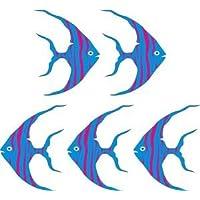 "Smarts-Art 5 X Tropical Angel Fish Stickers 6"" Tiles transfers Bathroom Wall"