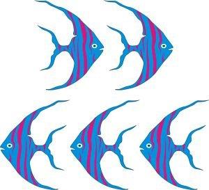 Smarts-Art Lot de 5 autocollants muraux Motif poissons tropicaux Pterophyllum 15,2 cm
