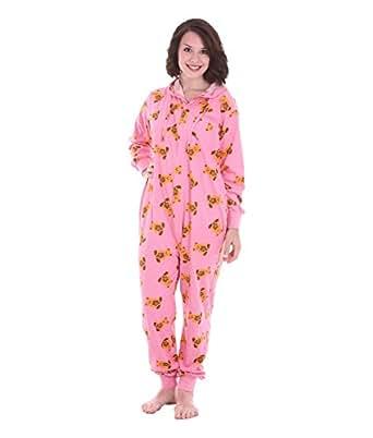 """Adult onesie pyjamas - """"Cute"""" design is teddy bears on pink - Sleepsuit or Loungewear in sizes Petite, Small, Medium (Small)"""