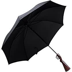 "Paraguas en el diseño de ""rifle"" - negro, aproximadamente 120 cm de diámetro - artilugio de escopeta, paraguas largo como idea de regalo - Grinscard"
