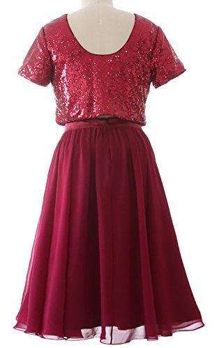 MACloth Cap Sleeves Two Piece Short Bridesmaid Dress Sequin Chiffon Formal Gown Dark Navy