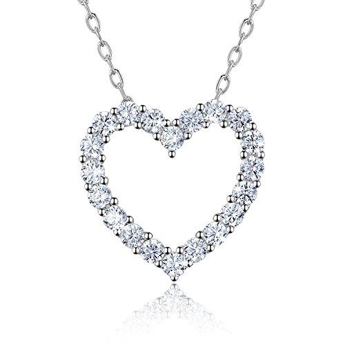 925 Sterling Silber Diamant Herz Kette Damen Halskette - Billie Bijoux Platinum