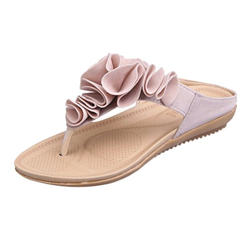 DEELIN Damen Schuhe Sommer Strand Floral Plattform Hausschuhe Casual Keil Sandalen Frauen Schuhe (35, Rosa)