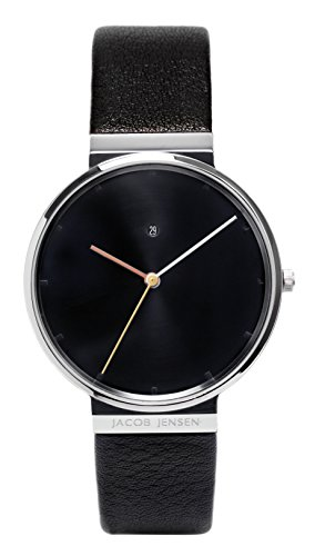 Jacob Jensen Herren Analog Quarz Uhr mit Leder Armband Dimension Series Item NO.: 842