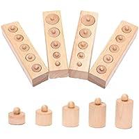 Tinksky Juguete del desarrollo temprano bebé Montessori cilindro toma sentidos regalo juguete educativo de madera