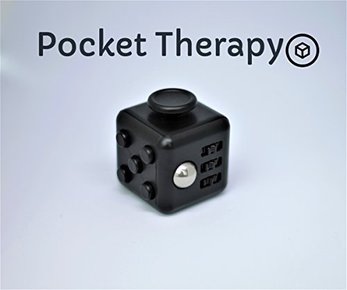 Fidget Cube by Pocket Therapy: Combat Stress, Anxiety and Boredom // Increase Concentration and Focus (Black)