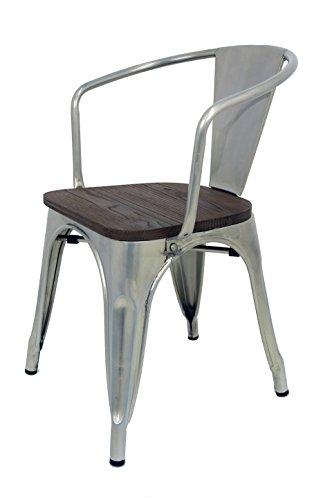 La Silla Española - Silla estilo Tolix con respaldo, reposabrazos y asiento acabado en madera. Color Industrial. Medidas 73x53,5x52