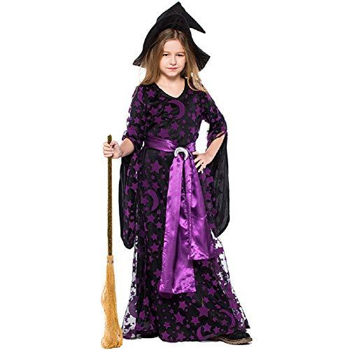 ZJWZ Kinder Halloween Kleid Lila Hexe Hexe Bühne Verkleiden Sich Leistung Sterne Mond Print Hexe ()