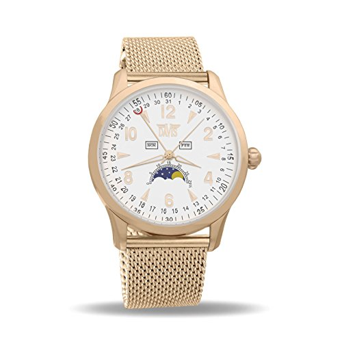 Davis 1506MB - Mens Moon Phase Watch Rose Gold Triple Date White Dial Mesh Milanese Strap