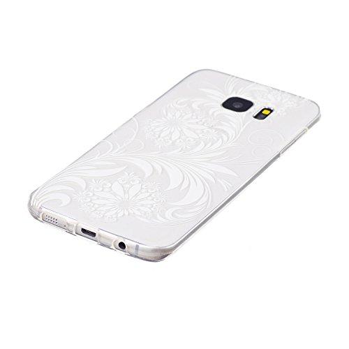 Galaxy S7 Edge Coque, Samsung S7 Edge Housse, Samsung Galaxy S7 Edge Etui,BONROY® Motif monochrome classique Ultra-Mince Thin Soft Silicone Etui de Protection pour Souple Gel TPU Bumper Poussiere Resi fleurs blanches