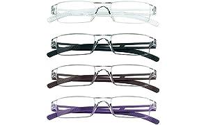 4 pares de gafas de lectura, lentes de bloqueo de luz azul, gafas de lectura para computadora para mujeres y hombres, marco de gafas rectangulares de moda