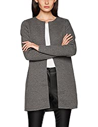 Vila Clothes Damen VINAJA New Long JKT Strickjacke, Grau (Medium Grey Melange), 42 (Herstellergröße: XL)