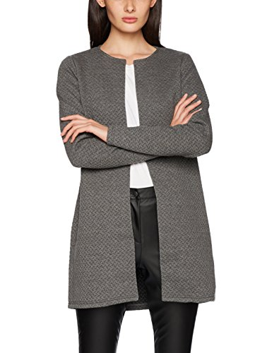 Vila Clothes Damen VINAJA New Long JKT Strickjacke, Grau (Medium Grey Melange), 36 (Herstellergröße: S)