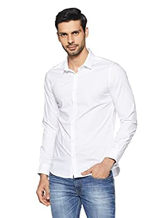 United Colors of Benetton Men's Solid Slim Fit Casual Shirt (18P5EW65QV58I_White_M)