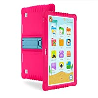 10 Inch IPS Display Unlocked Dual SIMs Quad Core Kids Tablet PC Android 1GB Ram 16GB Rom with Pre-installed APPs for Learning Free Protection Case Stand (Hot Pink)