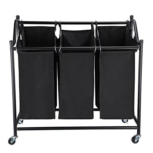 GOGO GO Wäschekorb Wäschesortierer aus hochwertigem Oxford TUCH, Wäschesammler mit 3 Fächern, Wäschewagen auf Rollen, Metallrahmen, Schwarz