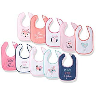 Hudson Baby Baby Girls' Drooler Bib, 10 Pack
