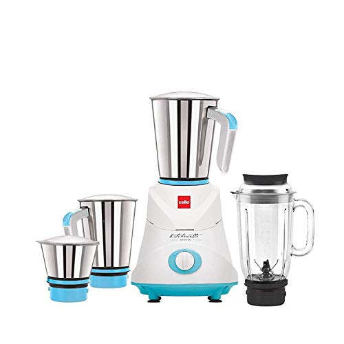 Cello GNM_Elite 500-Watt Mixer Grinder with 3 Stainless Steel Jar and 1 Juicer Jar (Blue)