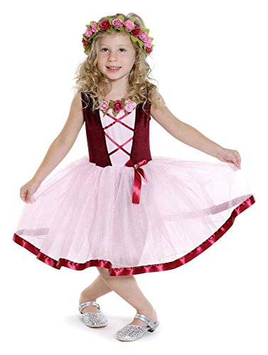 nzessin - Mädchen-Kostüm mit Tutu - rosa-bordeauxrot 122/128 (7-8 Jahre) (Mittelalterliches Mädchen-kleid)