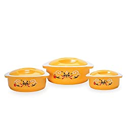 Cello Hot Treat Insulated Food Server, Set of 3, Yellow