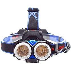 CHENNAO Lampe frontale à DEL, 3 modes de phares super lumineux, éclairage 2000, phares COB légers, convient aux enfants qui courent la pêche au camping, réparation automobile