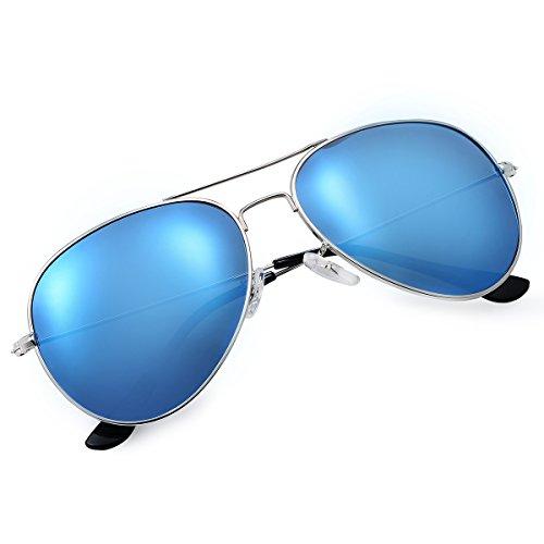 Yveser Polarisierte Sonnenbrille Pilotenbrille für Männer und Frauen Yv3025 (Blaue Linse/Silber Rahmen)