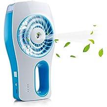 iEGrow 3 velocudades pequeño ventilador recargable USB portatil de mano con humidificador hidratante - color azul para oficina, viaje, camping y playa LA MEJOR OPCIÓN PARA LOS NIÑOS
