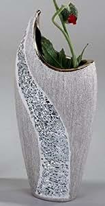 Vaso Da Fiori Decorazione Esclusiva in Ceramica E Mosaico Argentato Altezza 30 cm Formano