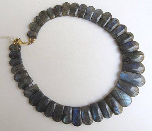 Naturel labradorite Noir mise en pierre de lune Collier plastron, 14 x 10 mm au 29 x 14 mm, 43,2 cm - Gds975