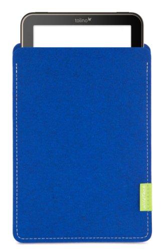 WildTech Sleeve für Tolino Vision 4 HD / 3 HD / 2 HD / 1 Hülle Tasche aus echtem Wollfilz - 17 Farben (Handmade in Germany) - Azure -