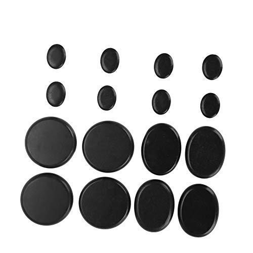 Spa Stone, 16 Stücke Hot Spa Schwarz Basalt Kreis Oval Form Stein ätherisches Öl Vulkanische Massage Lava-Massagesteine im Heizkoffer für Wellness und Entspannung -