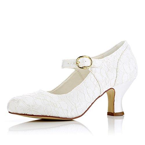 Jia Jia Femmes Chaussures De Mariage 11015 Bout Fermé Chunky Dentelle Satin Pompes De Mariage Chaussures De Mariage Ivoire