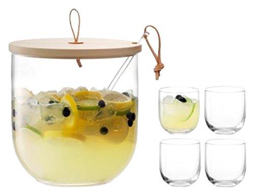 LSA International Ivalo Bowle-Set mit Esche Deckel, Glas, klar, 23cm