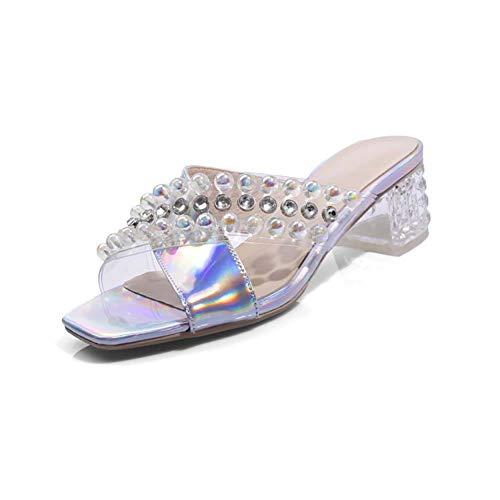 XLY Frauen Casual Open Toe Transparent PVC Klar Mule Sandalen Perlen Strass Low Heel Slipper Slides,39
