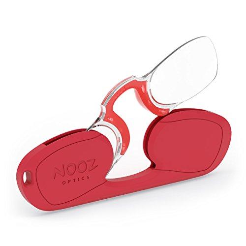 NOOZ Bügellose Lesebrille Unisex - Rot +1 Rechteckig - Immer griffbereit