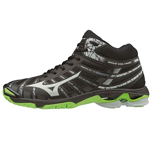Mizuno Wave Voltage Mid, Scarpe da Pallavolo Unisex Adulti, Nero (Black/Highrise/GreenGecko 37), 42.5 EU