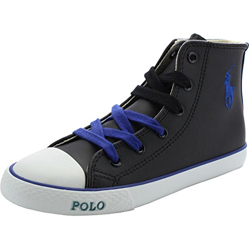 Polo Ralph Lauren Polo Carson II Mid Black Leather Junior Trainers