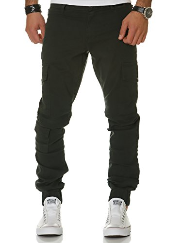 L.A.B 1928 Herren Cargo Hose Jogger Chino Cargohose Sweatpants Sweathose Jeans Khaki - 1012 W30/L32