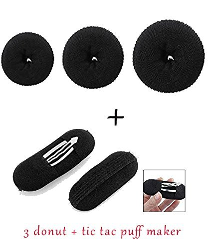 Blackbond Pack of 3 hair donuts All 3 different sizes + 2 Pcs Black Sponge Hair Clip Volume Bumpit Padding Bun Updo  available at amazon for Rs.169
