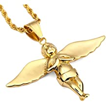 nyuk Angelo Ciondolo e catena ornamenti in acciaio unisex Hip Hop da donna collana in oro