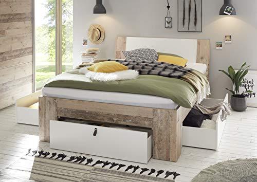 DEINE TANTE EMMA 22-190-V0 Cardiff Old Style Eiche hell/weiß Bett Jugendbett Einzelbett Gästebett Doppelbett & Schubladen 140 x 200 cm inkl. Rost & Matratze -
