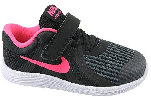Nike Unisex-Kinder Kleinkinder Sneaker Revolution 4, Schwarz (Black/Racer Pink. 004), 23.5 EU (Nike Kleinkinder Mädchen Schuhe)