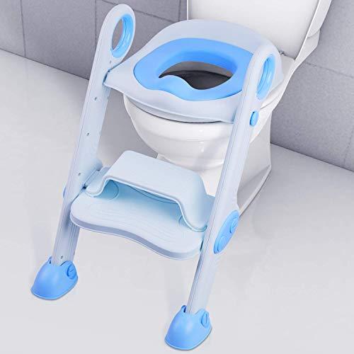 KJRJMT Toilettensitz mit Trittleiter for Jungen und Mädchen Baby Kleinkind Kind Toilettensitz Stuhl mit weich gepolstertem Sitz und robuster Rutschfester breiter Trittstufe (Color : Blue) (Sicherheits-badewannen-trittstufen)