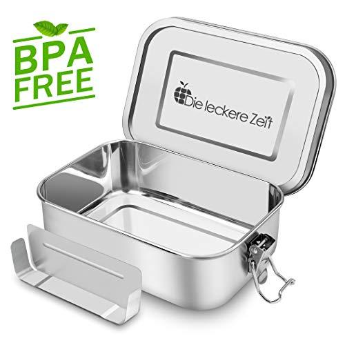 Premium Auslaufsicher Edelstahl Brotdose mit Fächern, BPA und Plastikfreie Bento Box mit Flexibler Abtrennung, 1200ml Metall Brot Box Lunchbox, Nachhaltig, Geeignet für Wandern/Reisen/Schule Kinder