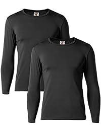 LAPASA Camiseta Térmica, Pack de 2 Manga Larga para Hombre. -Brushed Back Fabric Technique- M09