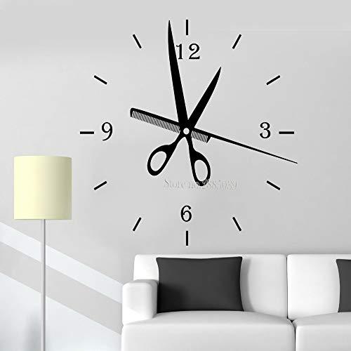 zhuziji Neueste kreative wandtattoos friseursalon Uhr Mode Uhren große wanduhr Aufkleber DIY Wohnzimmer dekor friseursalon STYL schwarz 57x56 cm